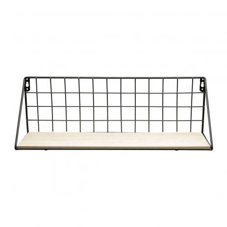 Prateleira de metal preto e madeira 44x14x12cm