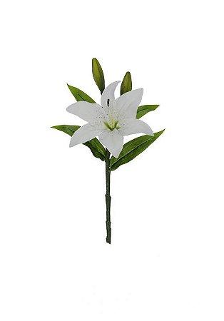 Flor de lirio toque real branco 37cm
