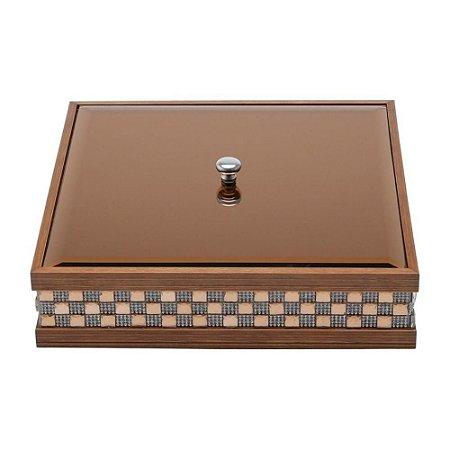 Caixa de madeira com tampa de vidro Bisote Diamont MR 26x26