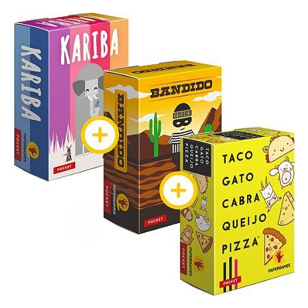3-Pack Papergames - Kariba (como expansão camaleão) + Bandido + Taco Gato Cabra Queijo Pizza
