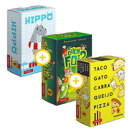 3-Pack Papergames - Hippo + Quem foi? + TAco, gato, cabra, queijo , pizza