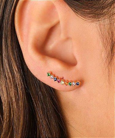 Ear cuff Com Zirconias Em Forma De Coração Nas Cores Rosa, pink, Azul, Verde, laranja e cristal