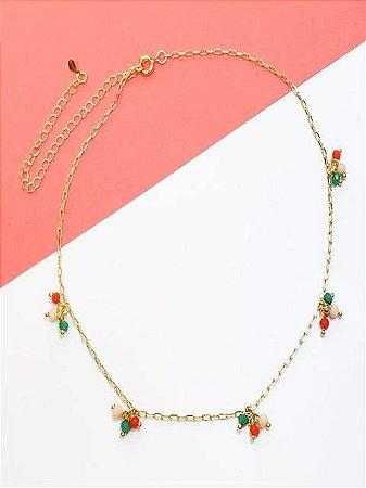 Corrente de cadeado com cachos coloridos de cristais verde, coral e nude