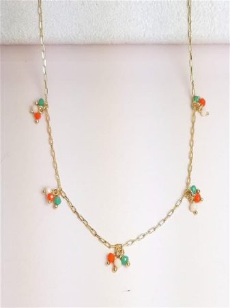 Corrente de cadeado com cachos coloridos de cristais verde, coral e azul bic