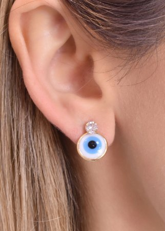 Brinco de olho grego com zirconia em cima tam M