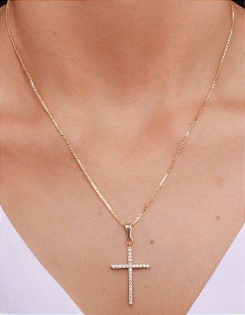 Colar de cruz cravejado
