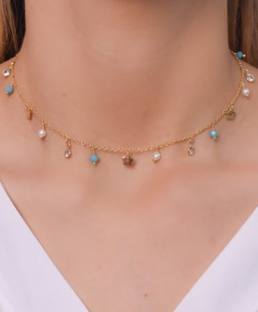 Choker com pérolas, zirconias e cristais azul tiffany pendurados