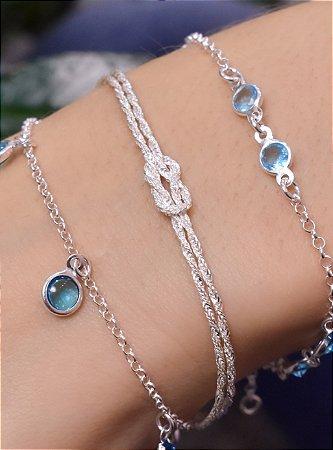 Pulseira em prata com 2 correntes estilo cordão baiano fina com um nó no meio