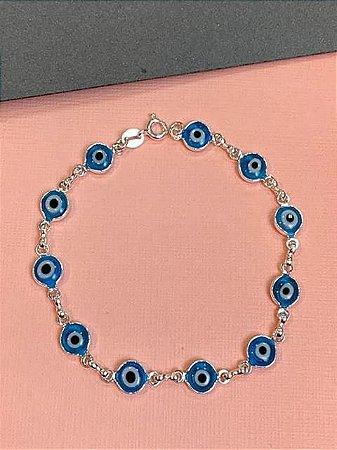 Pulseira de olho grego em prata
