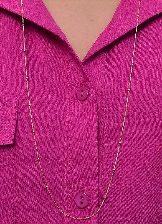 Colar longo com veneziana fina e bolinhas. estilo ouro. 80 cm