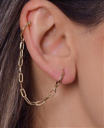 Argola com corrente cadeado e piercing fake