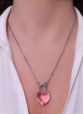 Corrente de cadeado com pingente de coração rosa e fecho boia