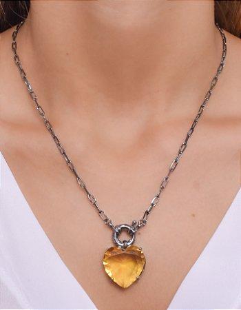 Corrente de cadeado com pingente de coração amarelo e fecho boia
