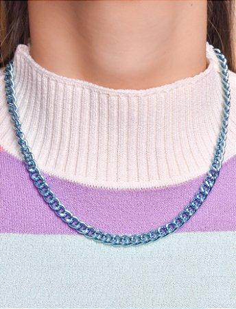 Colar de corrente groumet com 45 cm. Blue chain