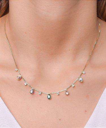 Colar com gotas de zirconia rosa e verde e zirconia cristal no meio