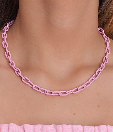 Corrente cadeado com banho rosa claro