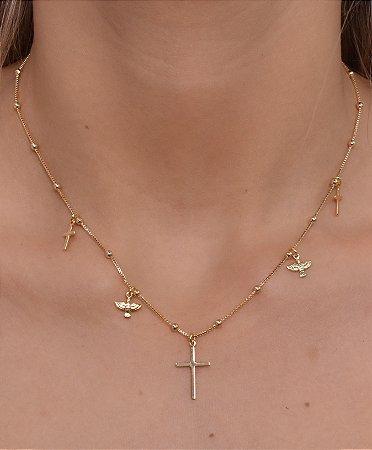 Choker corrente veneziana de bolinhas com pingentes de cruz e divino