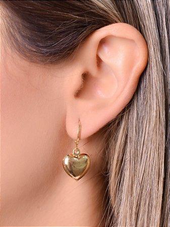 Mini argola com pingente de coração boleado tamanho G