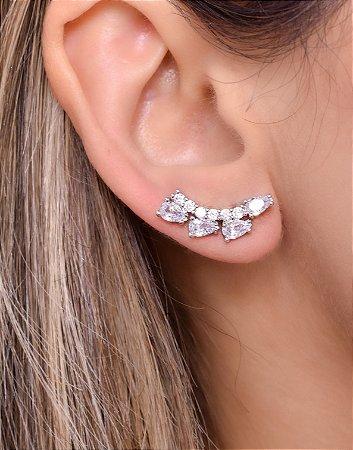 Brinco ear cuff com zirconias em forma de gota