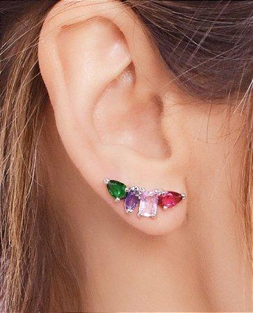 Ear cuff com zirconias em forma de gota, retangular e navete