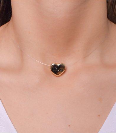 Colar de nylon com pingente de coração escrito Amor
