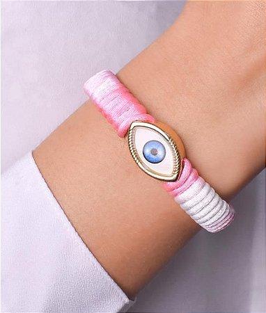 Pulseira de pano rosa e branco com pingente de olho grego tradicional
