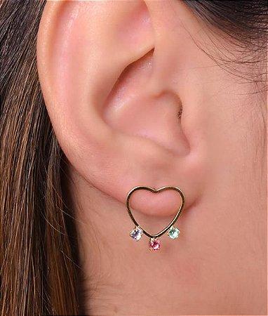 Brinco fixo de coração com zirconias coloridas