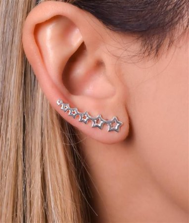 Brinco Ear Cuff Com Estrelas - Prata 925