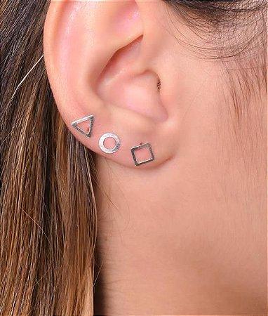Trio geométrico vazado. círculo, triângulo e quadrado - Prata 925