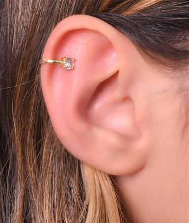 Piercing fake simples com uma zirconia na ponta tamanho G