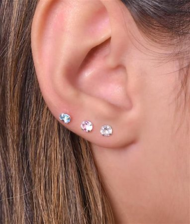 Trio de zirconias coloridas - Prata 925