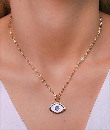 Choker corrente cartier com pingente de olho grego resinado branco e azul