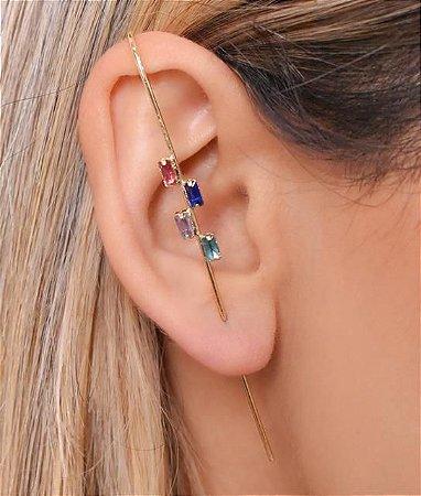 Ear Pin com 4 zirconias coloridas