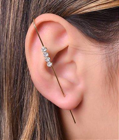 Ear Pin com 4 zirconias redondas