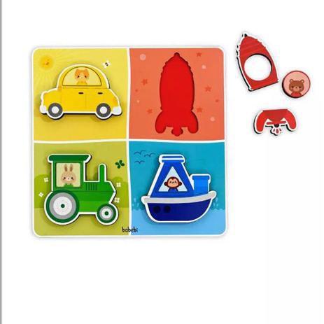 Quebra - Cabeça Encaixe de Transportes - Babebi
