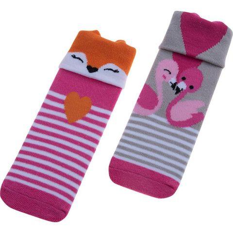 Kit Meias Lúdica Infantil Rosa Raposa e Cinza Flamingo  21/25 - Pimpolho