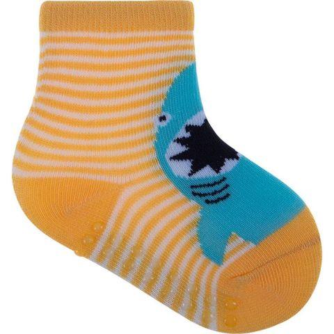 Meia Infantil Colorida Com Antiderrapante Amarelo Tubarão 16-20 - Pimpolho