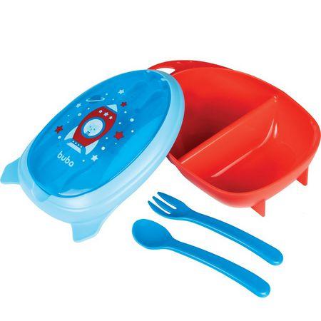 Kit Refeição Com Talheres Foguete Azul - Buba