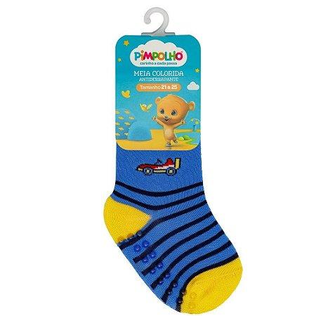 Meia Infantil Colorida Com Antiderrapante Azul Carro 21-25 - Pimpolho