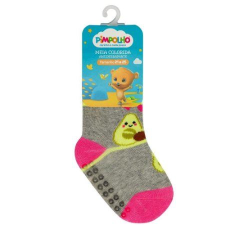 Meia Infantil Colorida Com Antiderrapante Cinza Abacate 21-25 - Pimpolho