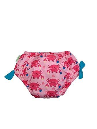 Calcinha de Banho Com Fralda Embutida FPS 50+ Siri Rosa - Ecoeplay