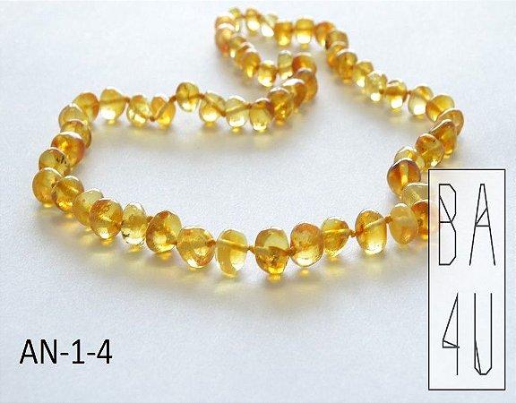 Colar de Âmbar Báltico Baby Barroco Lemon Polido  - 33 cm