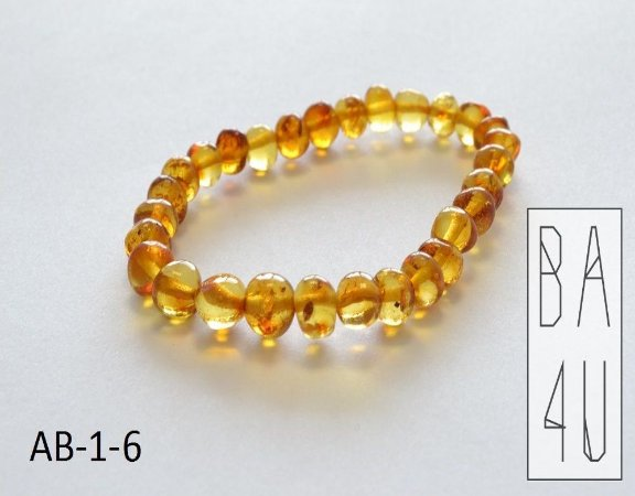 Pulseira de Âmbar Báltico Adulto Honey Polido 19 cm