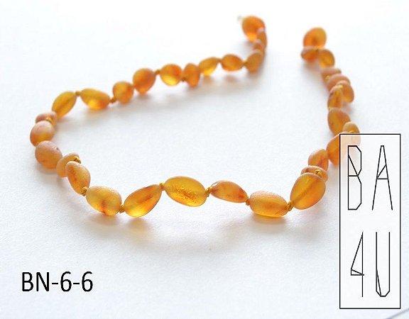 Colar de Âmbar Báltico Baby Estilo Feijão Honey Fosco 33 cm