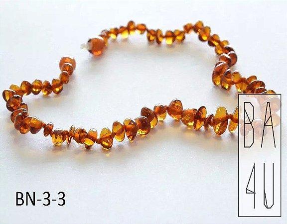 Colar de Âmbar Báltico Baby Honey Polido Estilo Meio Barroco 36 cm