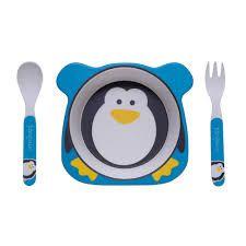 Kit Alimentação ECO Fibra de Bambu 3 Peças Pinguim - Girotondo Baby