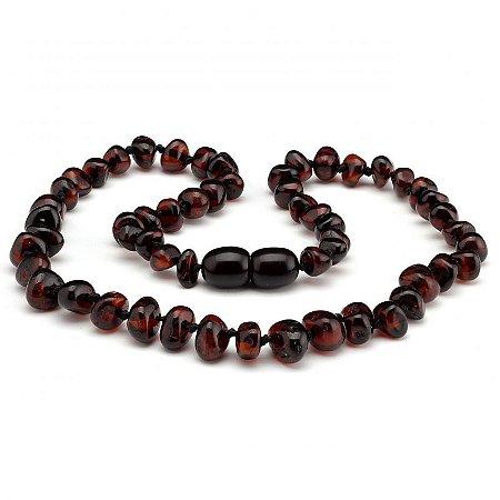 Colar de Âmbar Báltico Adulto  Barroco Contas Grandes Cherry Polido - 45 cm
