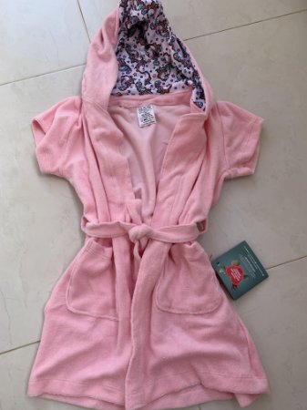 Roupão Infantil Com Capuz e Bolsos Manga Curta Rosa Unicórnio - Colo de Mãe
