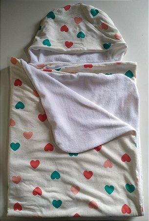 Toalha Infantil Gigante Corações - Colo de Mãe
