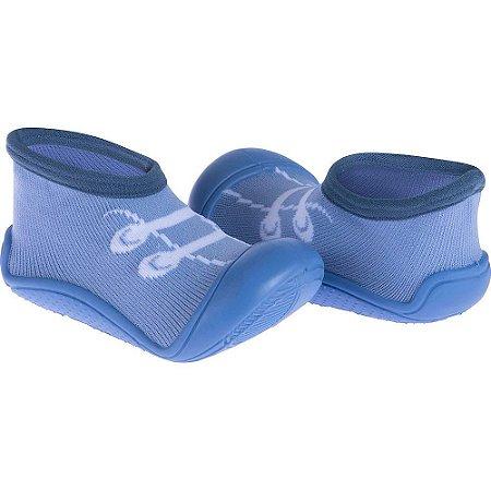 Meia Com Sola Cano Curto Cadarço Azul - Pimpolho